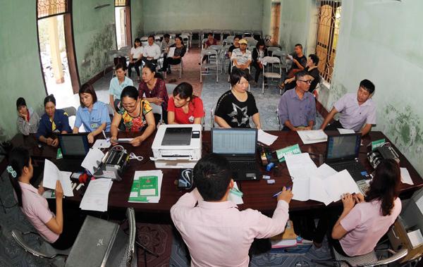 Một buổi giao dịch tại Điểm giao dịch xã Bắc Sơn, huyện An Dương